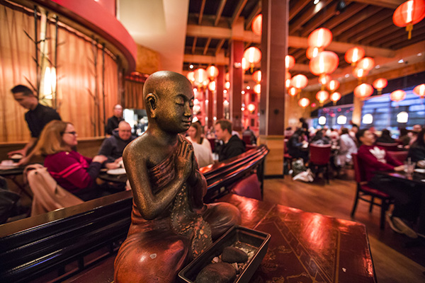 Buddha statue in Molly Woo's dining room
