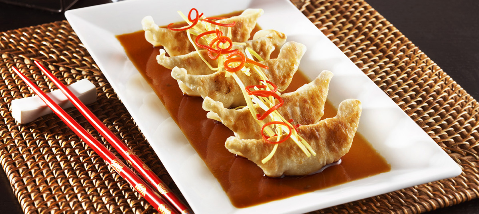 Plate of potstickers