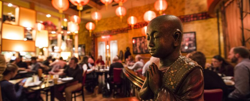 Buddha statue in dining room