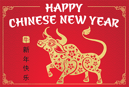 Happy Chinese New Year text with a gold ox and Chinese symbols.